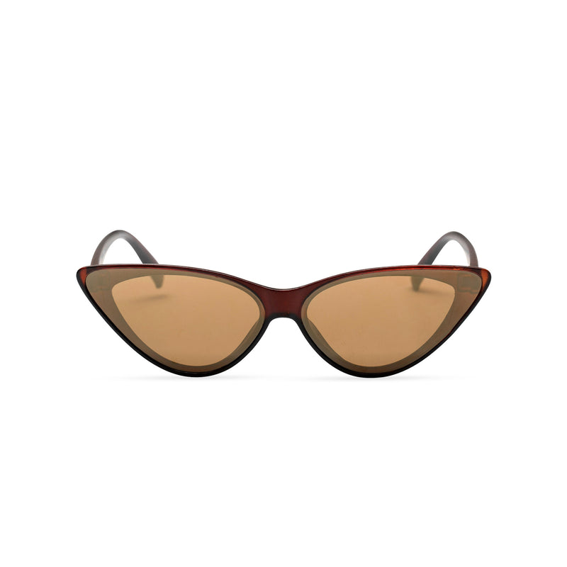 front brown frame dark lens GUIDO cat eye sunglasses of the future flat dark lens polycarbonate