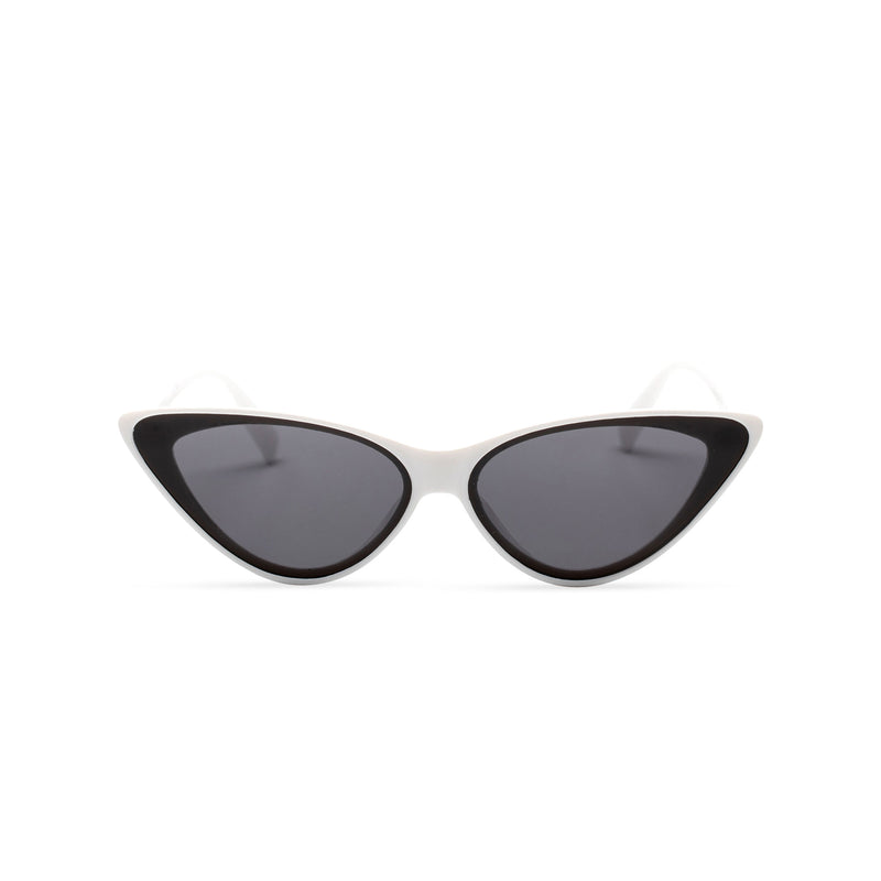 white frame black lens GUIDO cat eye sunglasses of the future flat dark lens polycarbonate
