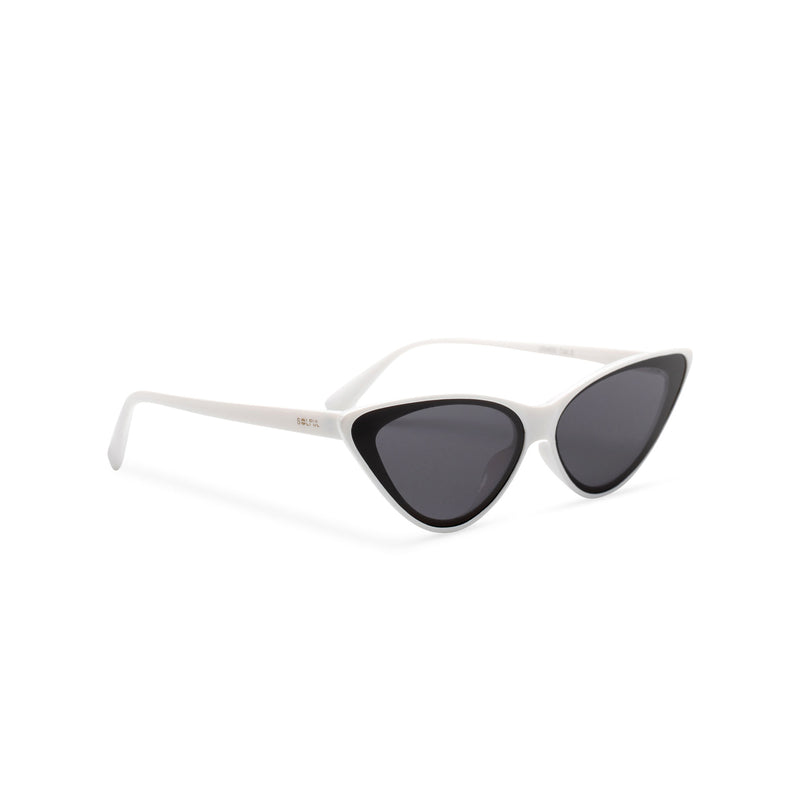 side white frame black lens GUIDO cat eye sunglasses of the future flat dark lens polycarbonate