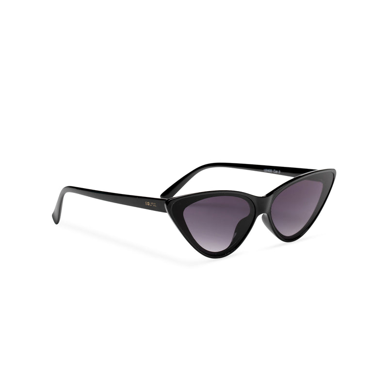 side black frame black lens GUIDO cat eye sunglasses of the future flat dark lens polycarbonate