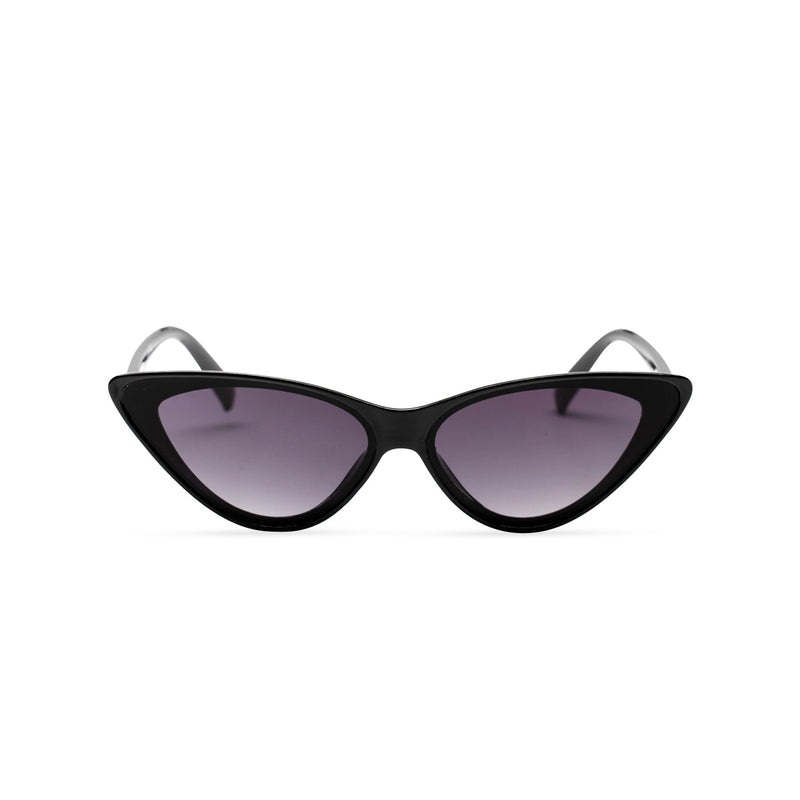 black frame black lens GUIDO cat eye sunglasses of the future flat dark lens polycarbonate