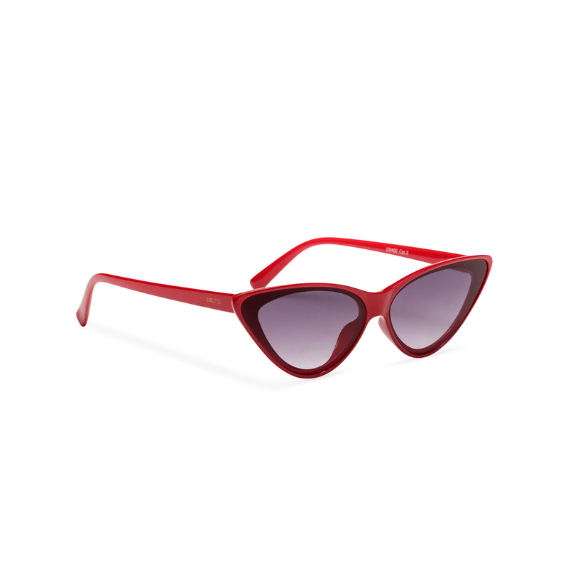 side red frame dark lens GUIDO cat eye sunglasses of the future flat dark lens polycarbonate