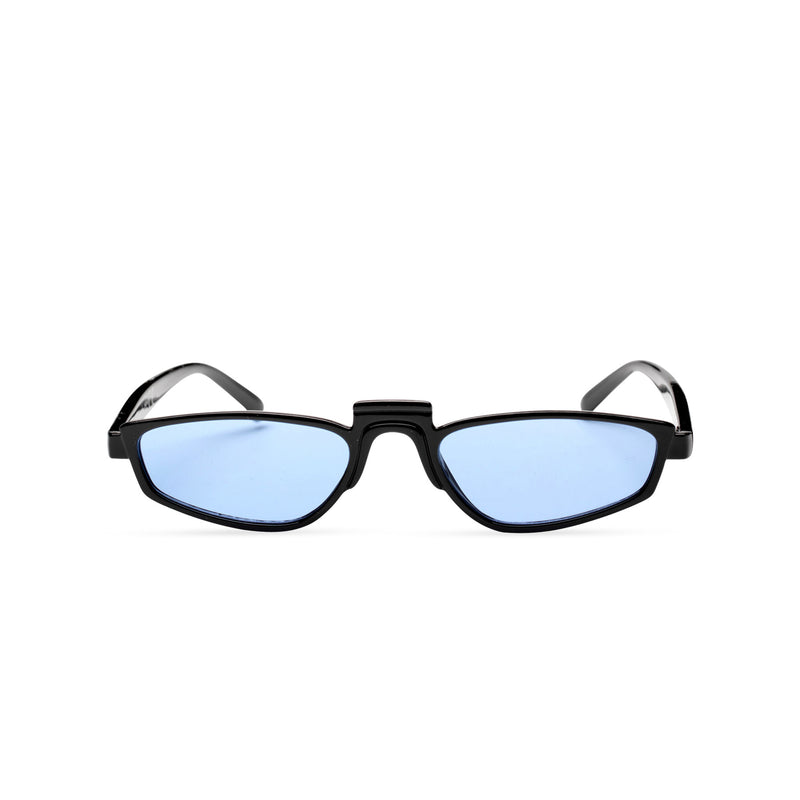 BANDIDO sky blue tiny square sunglasses flat dark black and blue lens UV 400