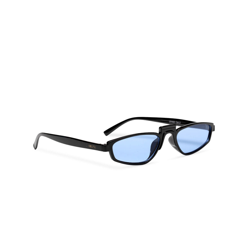 side BANDIDO sky blue tiny square sunglasses flat dark black and blue lens UV 400