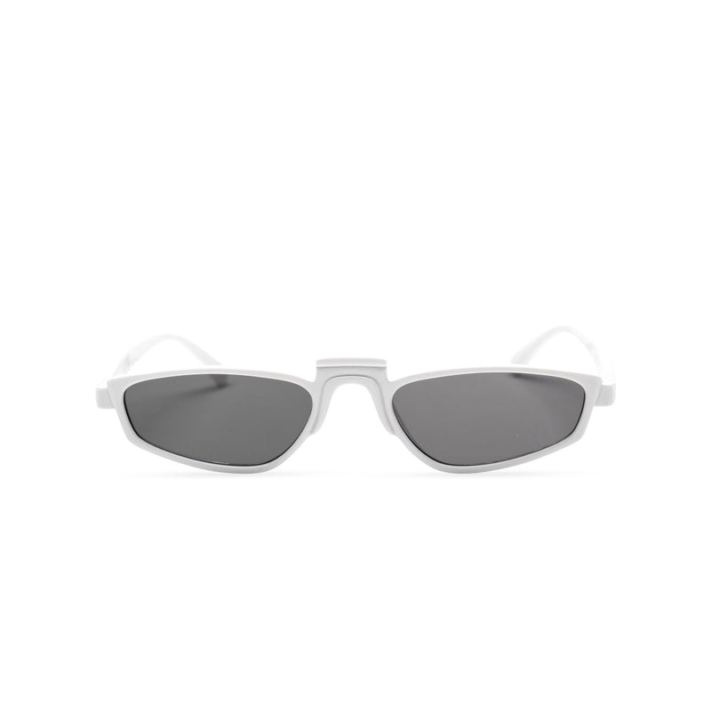 BANDIDO sky white tiny square sunglasses flat dark black lens UV 400