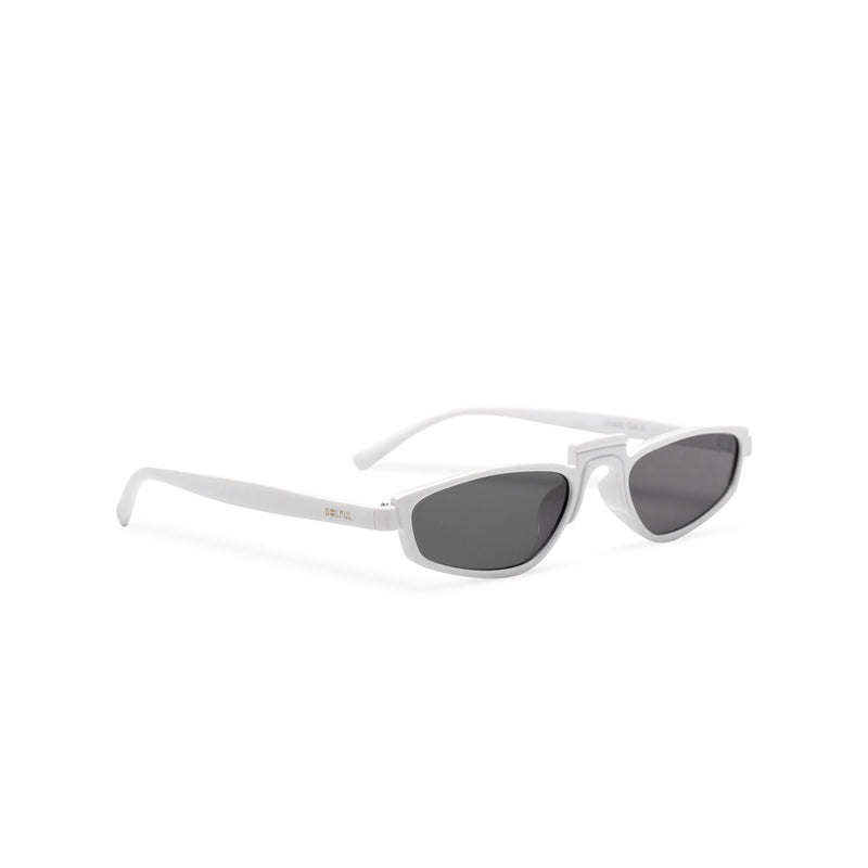 side BANDIDO sky white tiny square sunglasses flat dark black lens UV 400