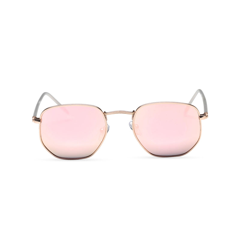 front mirror pink WONDER medium-small hexagon sunglasses hipster hexagonal shape shades