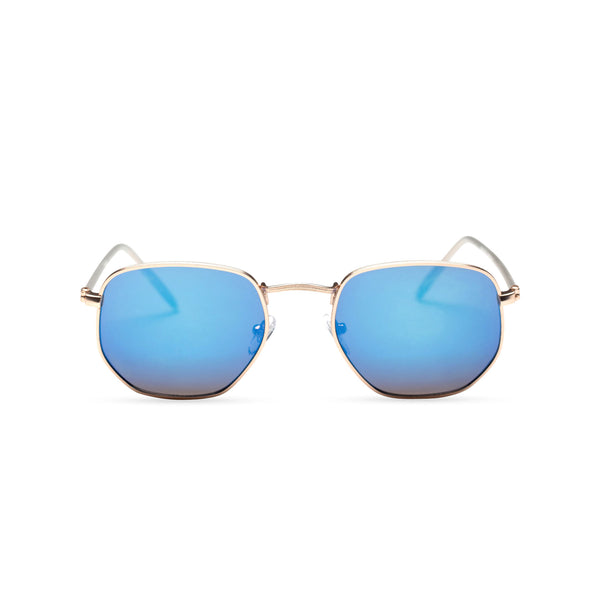 front blue WONDER medium-small hexagon sunglasses hipster hexagonal shape shades