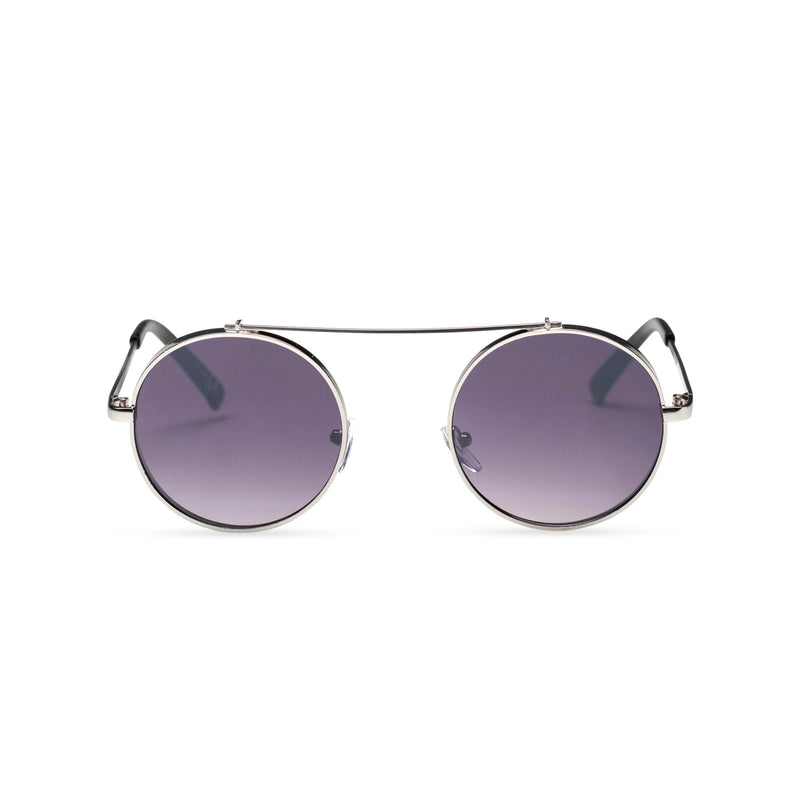 dark violet frame round metal medium steampunk sunglasses with tiny shield