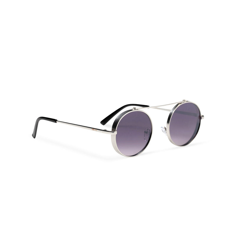 side dark violet frame round metal medium steampunk sunglasses with tiny shield