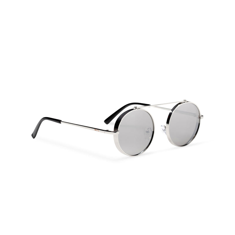 silver grey frame round metal medium steampunk sunglasses with tiny shield side