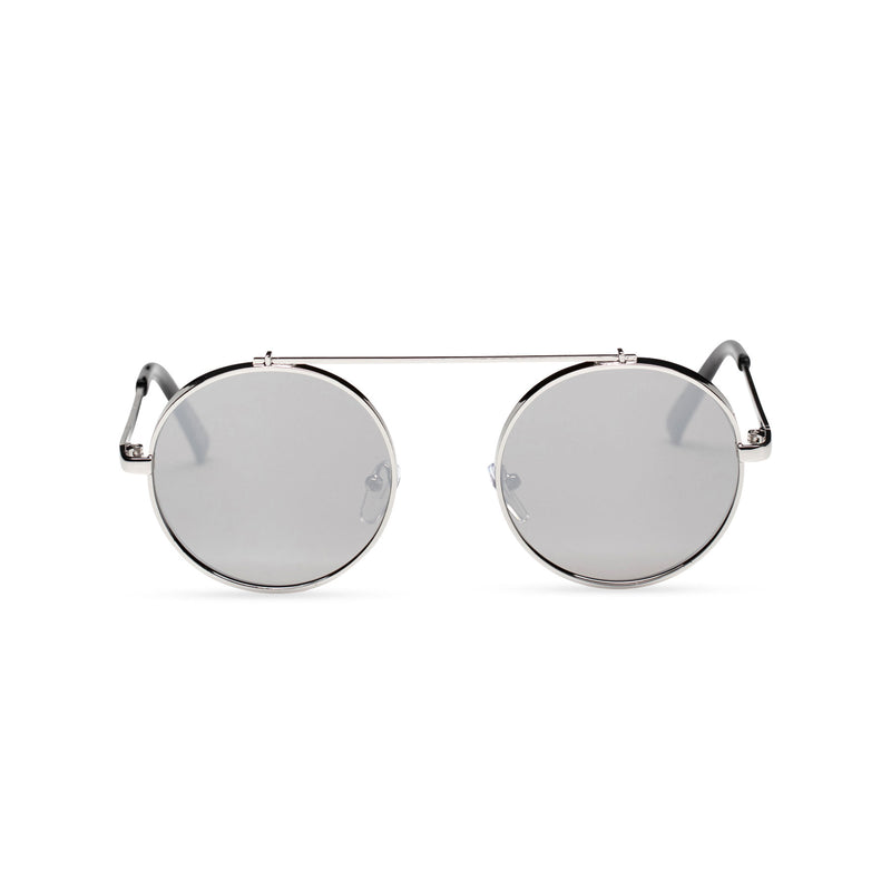 silver grey frame round metal medium steampunk sunglasses with tiny shield