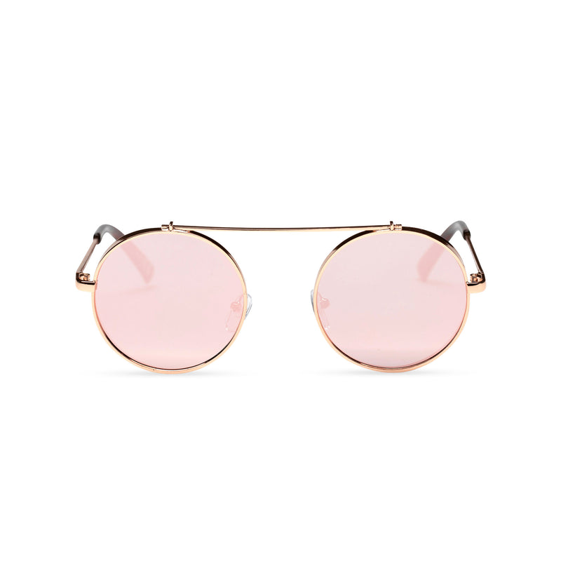 pink gold frame round metal medium steampunk sunglasses with tiny shield