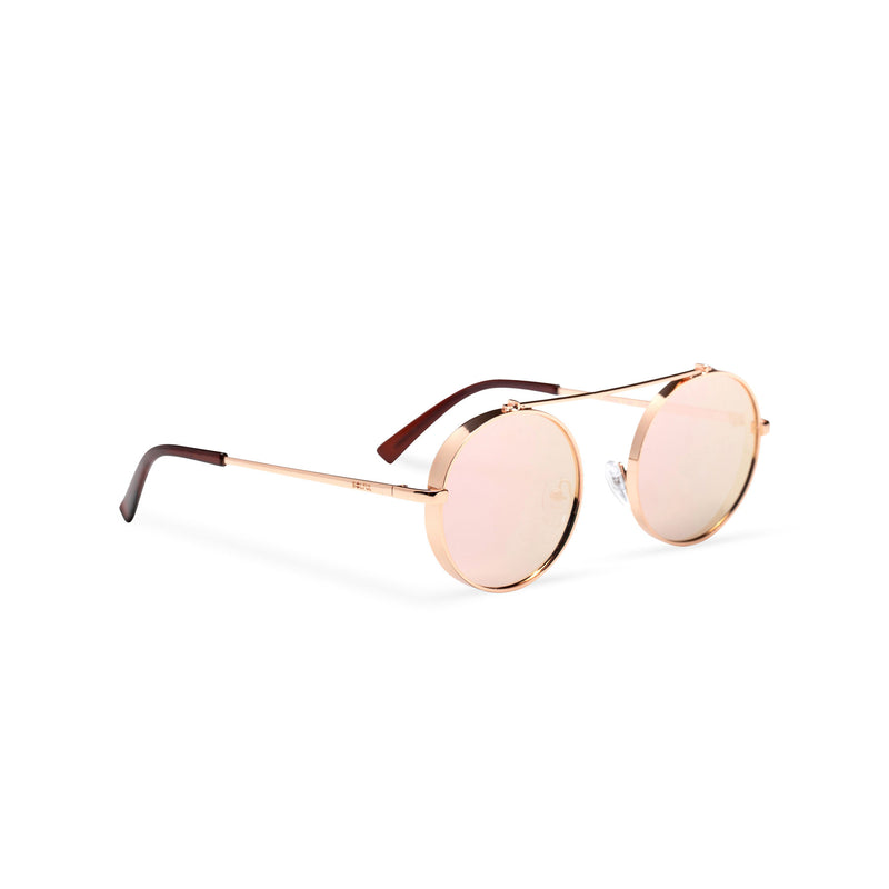 pink golden frame round metal medium steampunk sunglasses with tiny shield side