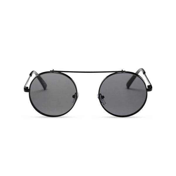 dark black frame round metal medium steampunk sunglasses with tiny shield