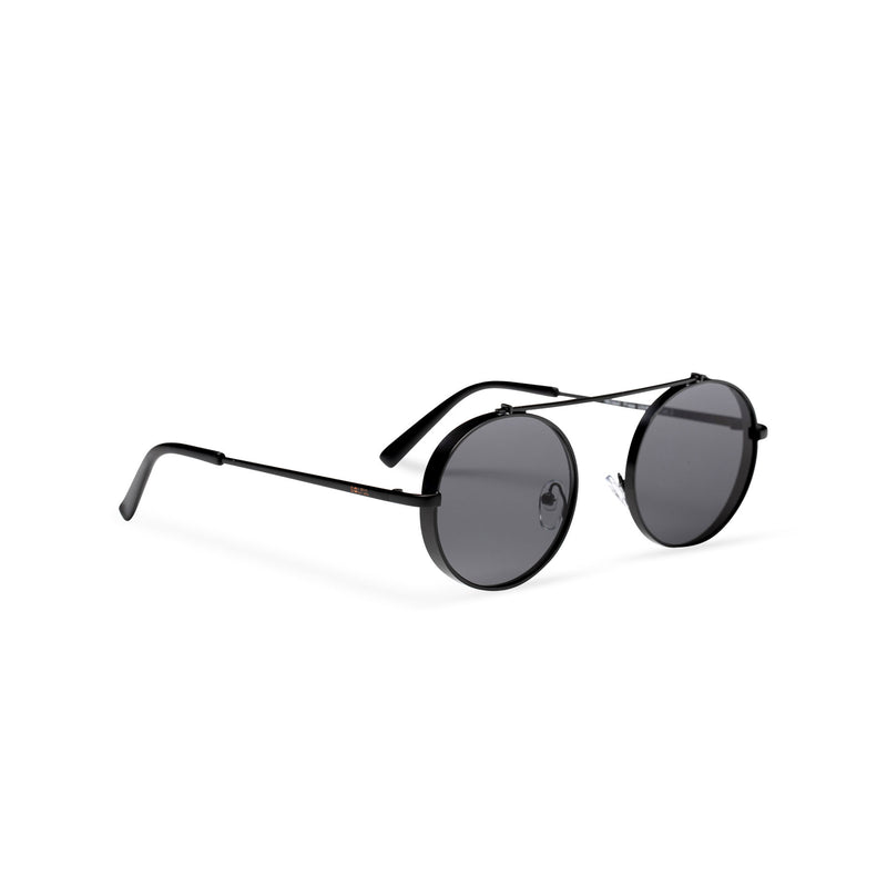 side dark black frame round metal medium steampunk sunglasses with tiny shield