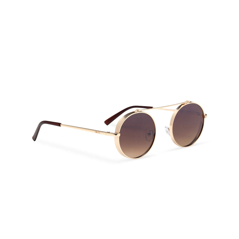 side gold frame round metal medium steampunk sunglasses with tiny shield