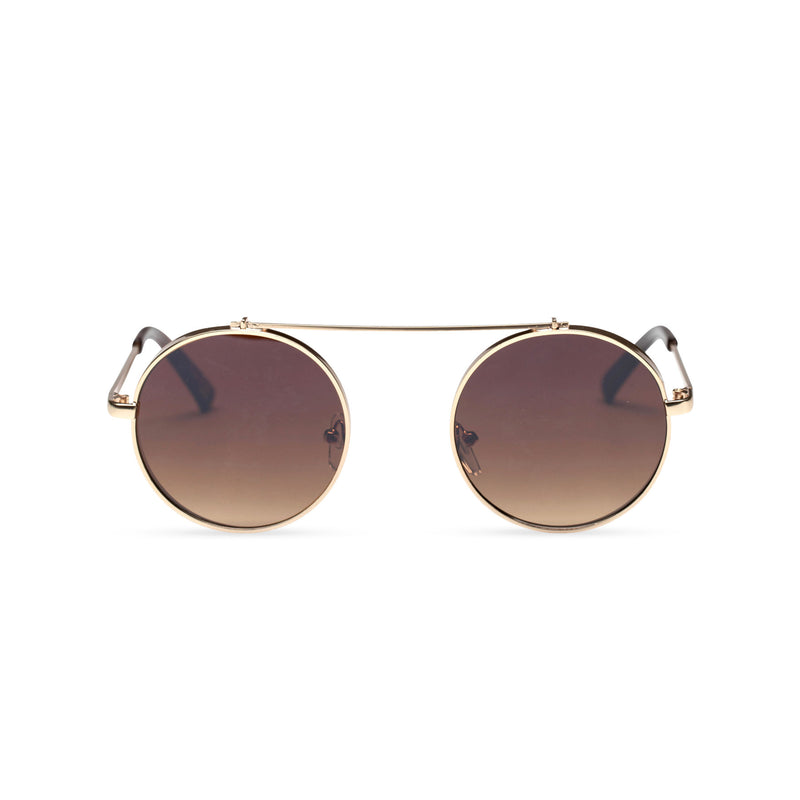 gold frame round metal medium steampunk sunglasses with tiny shield