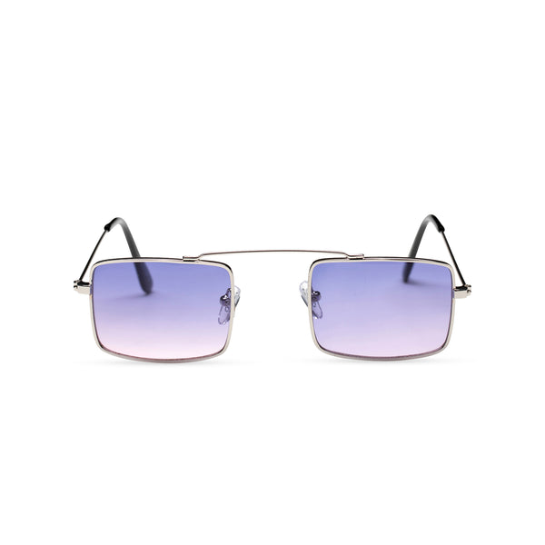 light purple-blue small square sunglasses hipster style colorful Ibiza metal shades