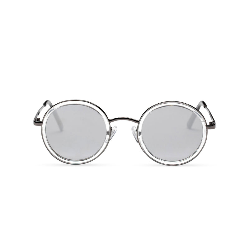 MINGLE round silver metal sunglasses with transparent plastic front rim grey lens by SOLFUL ibiza sunglasses front shot