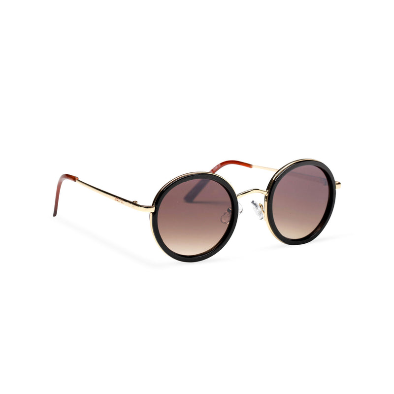side MINGLE round golden metal sunglasses with black plastic front rim by SOLFUL ibiza sunglasses