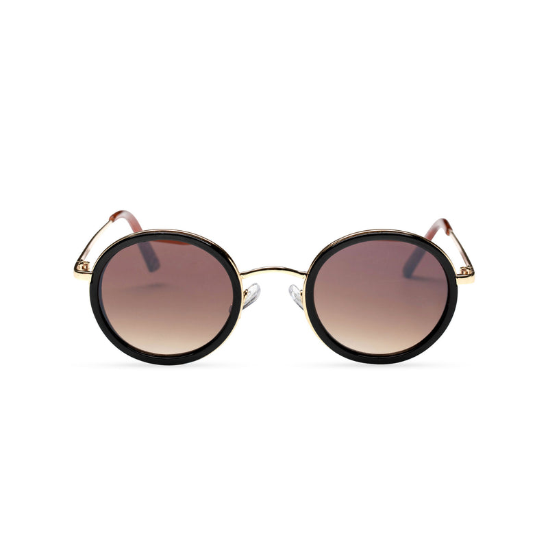 MINGLE round golden metal sunglasses with black plastic front rim by SOLFUL ibiza sunglasses