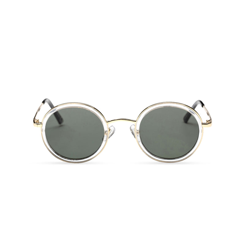 MINGLE round golden metal sunglasses with transparent plastic front rim dark green lens by SOLFUL ibiza sunglasses