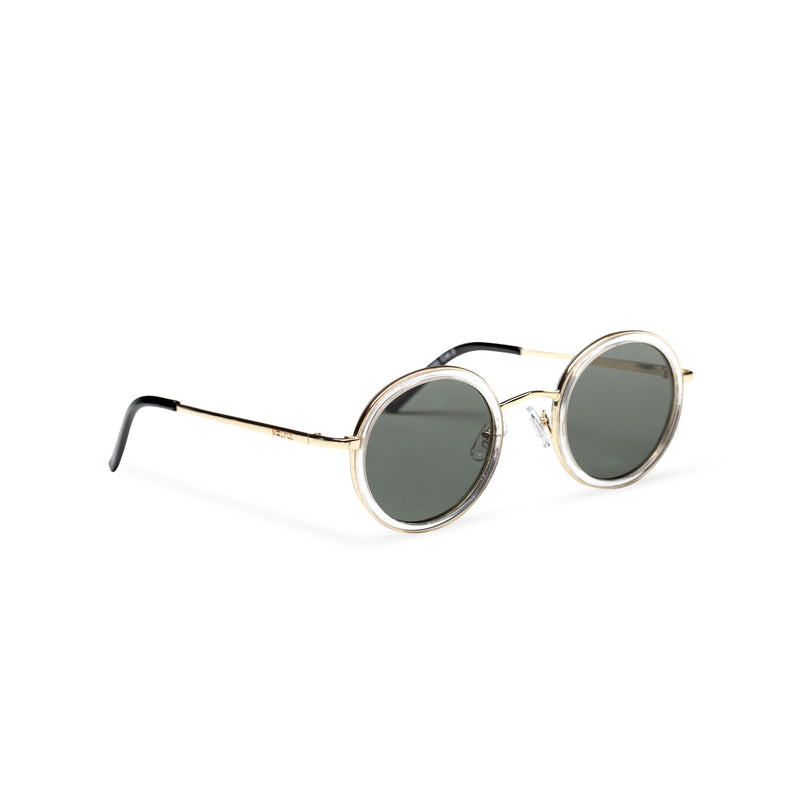 MINGLE round golden metal sunglasses with transparent plastic front rim dark green lens by SOLFUL ibiza sunglasses side shot