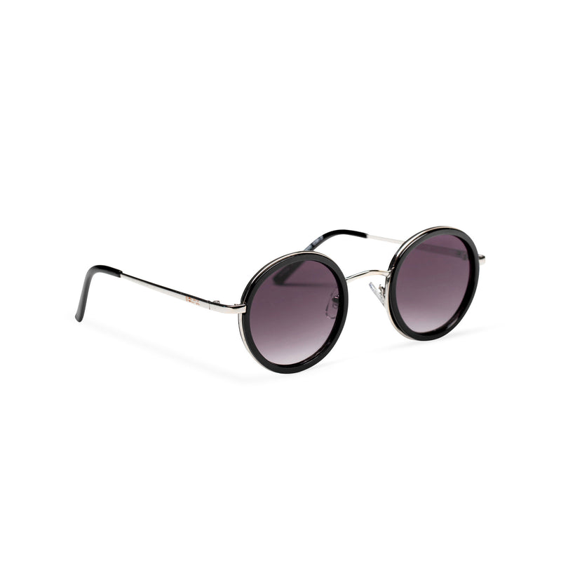 MINGLE round silver metal sunglasses with black plastic front rim dark violet lens by SOLFUL ibiza sunglasses side shot