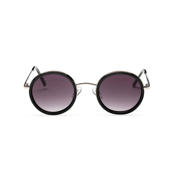 MINGLE round silver metal sunglasses with black plastic front rim dark violet lens by SOLFUL ibiza sunglasses front shot