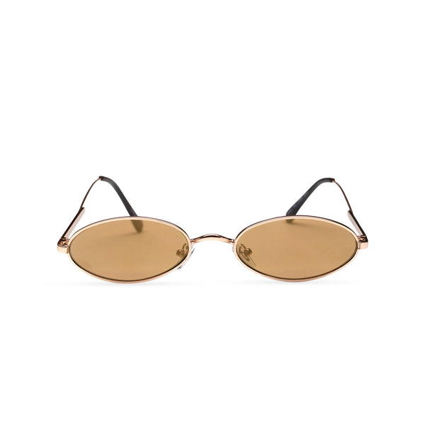 front cafe brown earth golden metal tiny teashade sunglasses small oval narrow cat eye