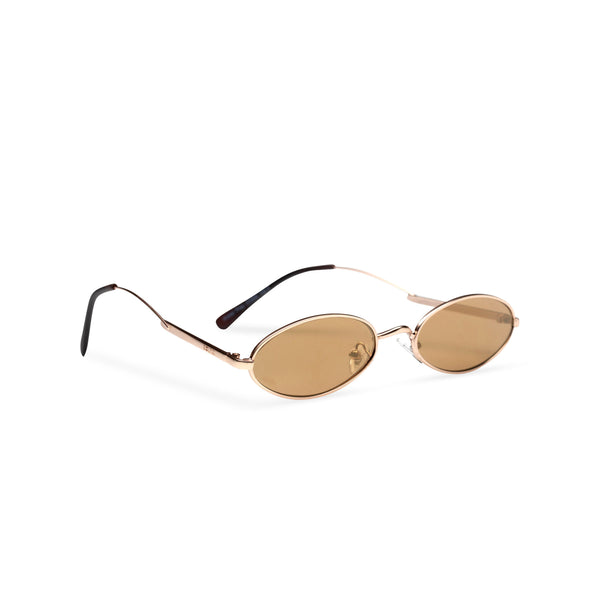 side cafe brown earth golden metal tiny teashade sunglasses small oval narrow cat eye