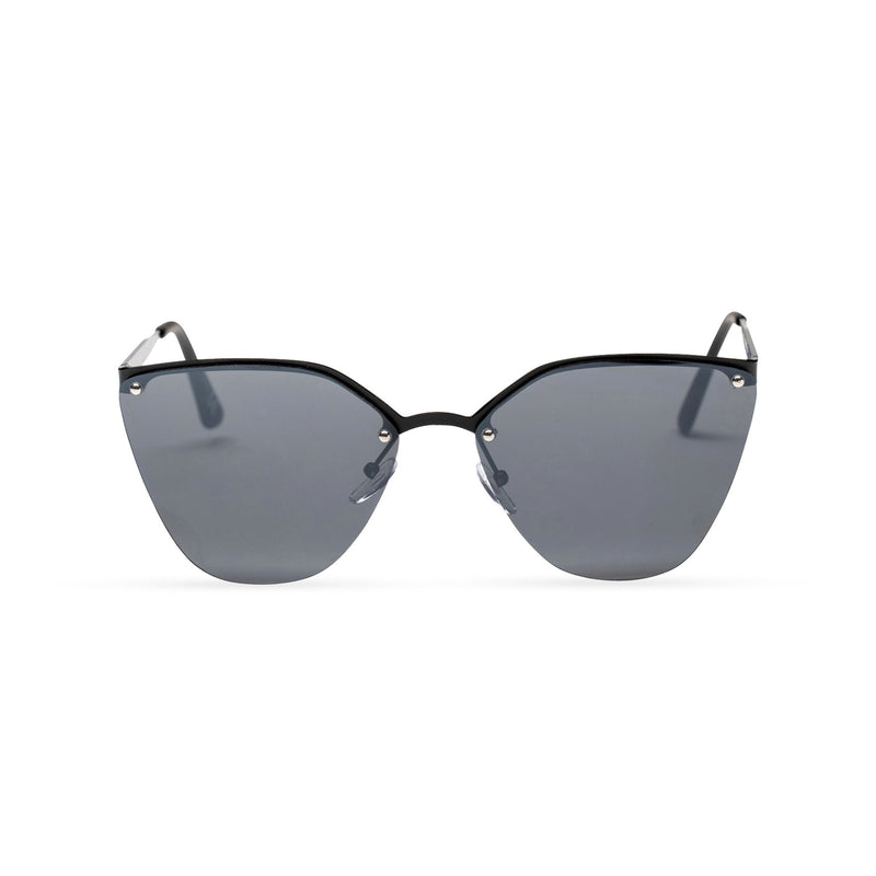 half rim metal cat eye sunglasses with black lens front