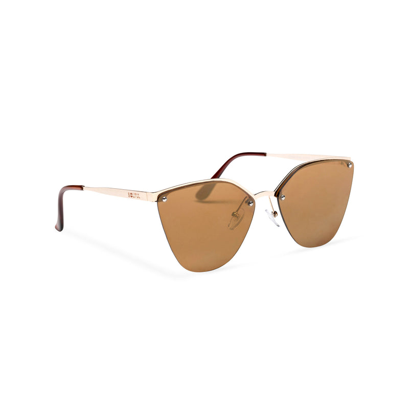 half rim metal cat eye sunglasses with brown earth lens side