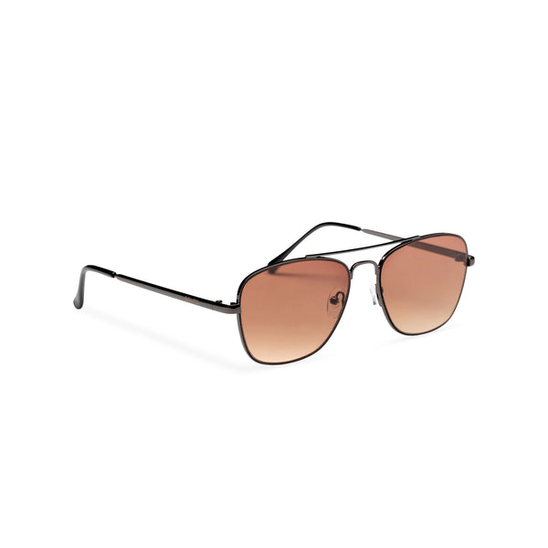 side brown ANTONI fine medium square aviator sunglasses metal frame and dark lens