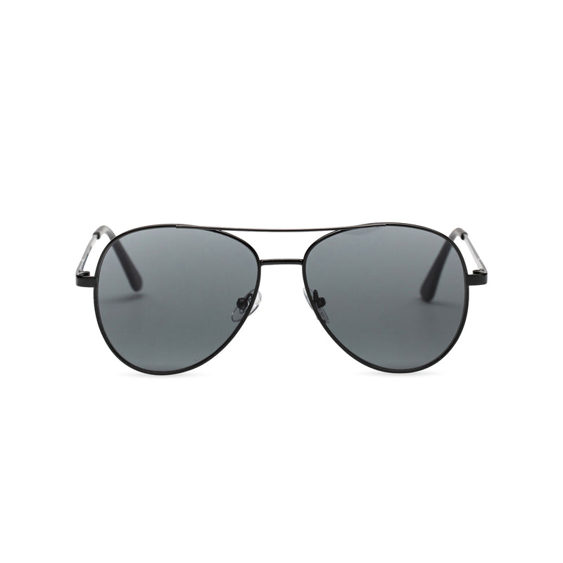 Front classic small SOLFUL Ibiza black aviator sunglasses with mirror lens