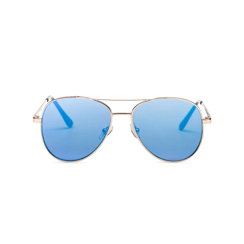 Front classic small SOLFUL Ibiza blue aviator sunglasses with mirror lens