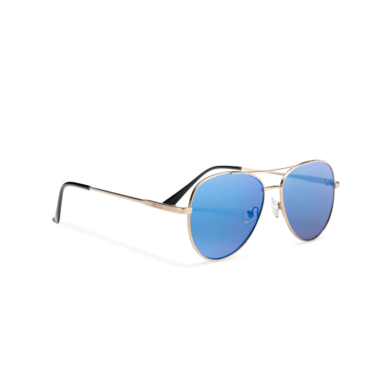 Side classic small SOLFUL Ibiza blue aviator sunglasses with mirror lens