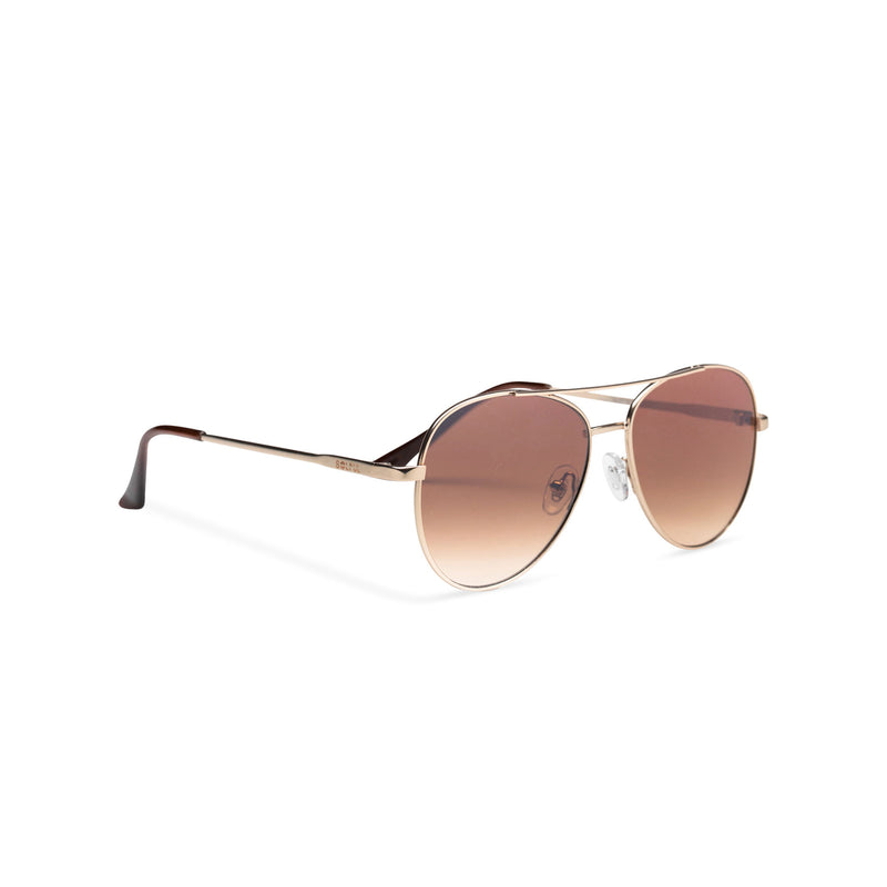 Side classic small SOLFUL Ibiza brown aviator sunglasses with mirror lens