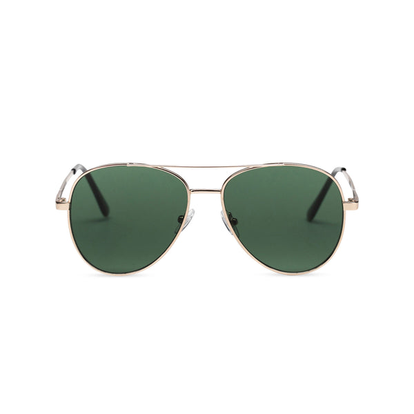 Front classic small SOLFUL Ibiza green aviator sunglasses with mirror lens