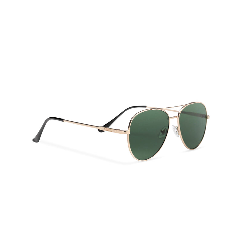 Side classic small SOLFUL Ibiza green aviator sunglasses with mirror lens