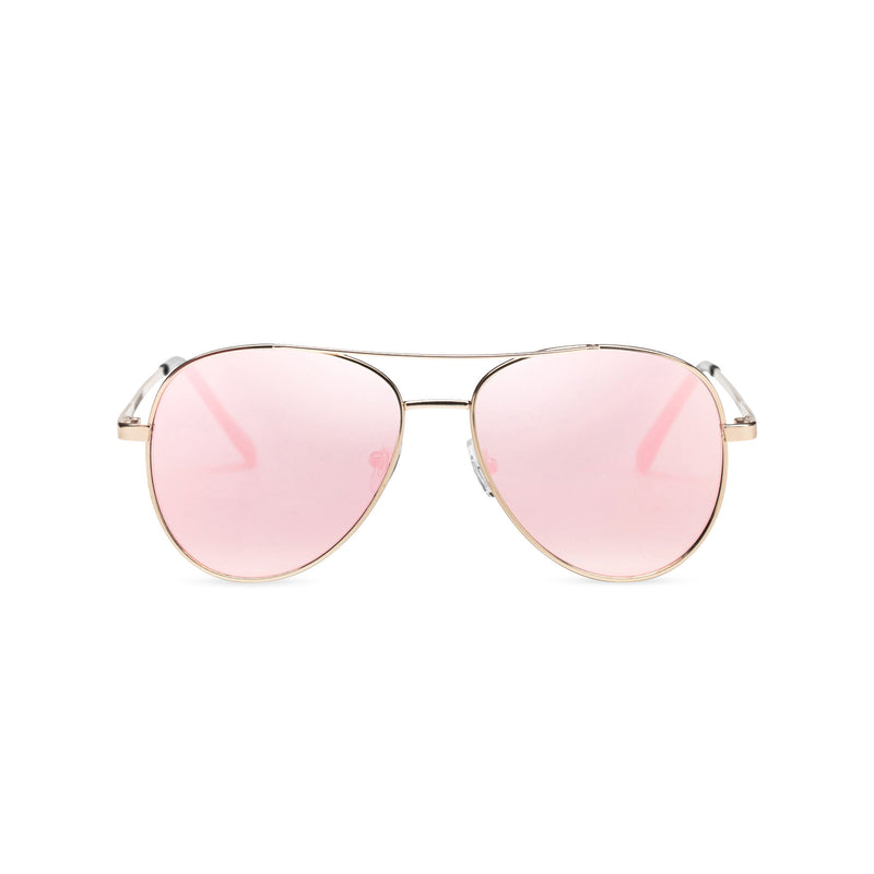 Front classic small SOLFUL Ibiza pink aviator sunglasses with mirror lens