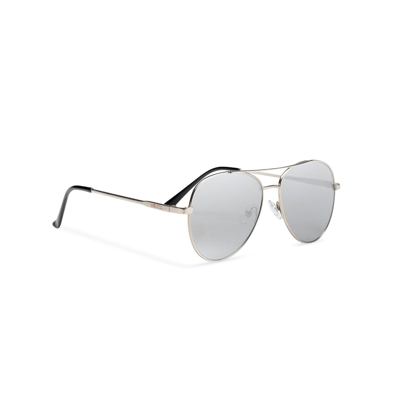 Side classic small SOLFUL Ibiza silver aviator sunglasses with mirror lens