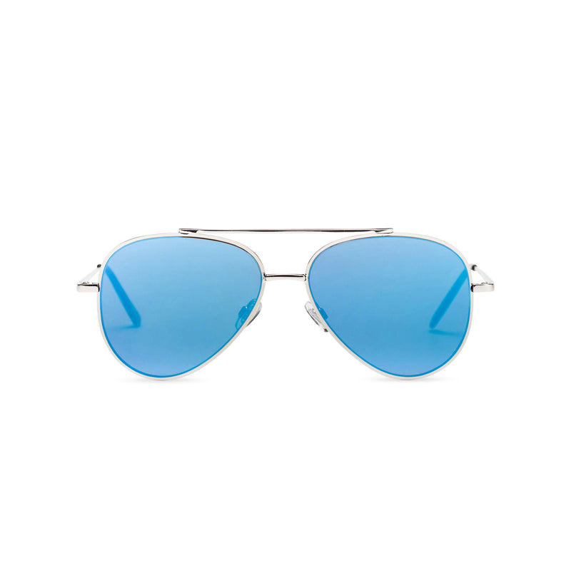 Front view of STANFORD big aviator sunglasses, silver metal frame with mirror blue lens