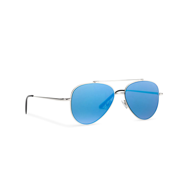 Side SOLFUL Ibiza AMNESIA club model big aviator sunglasses, silver metal frame with mirror blue lens