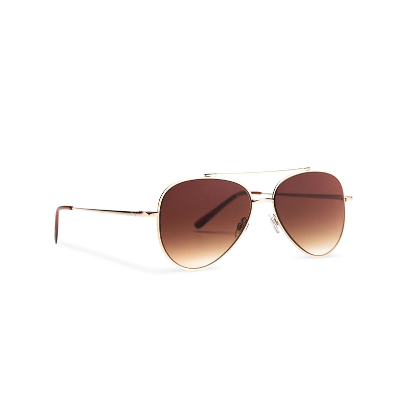 Side SOLFUL Ibiza STANFORD model big aviator sunglasses, gold metal frame with dark brown lens
