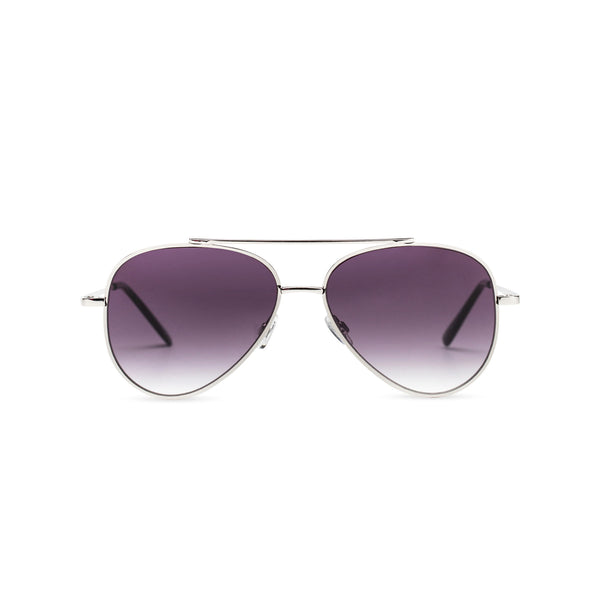 Front view of AMNESIA club big aviator sunglasses, silver metal frame with dark purple lens