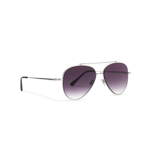 Side SOLFUL Ibiza AMNESIA club model big aviator sunglasses, silver metal frame with dark purple lens