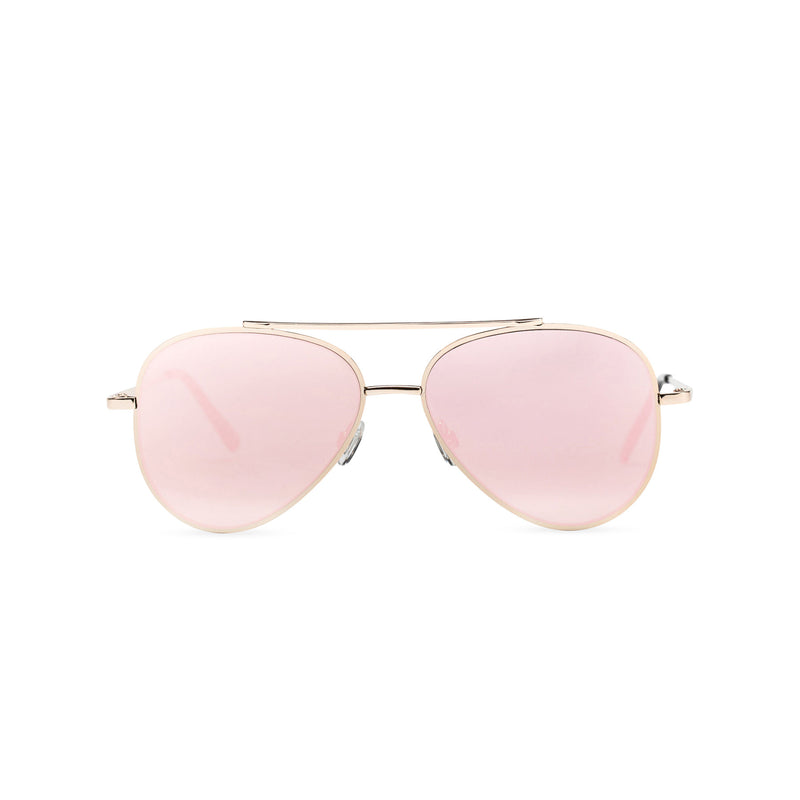 Front view of AMNESIA club big aviator sunglasses, golden metal frame with mirror pink lens