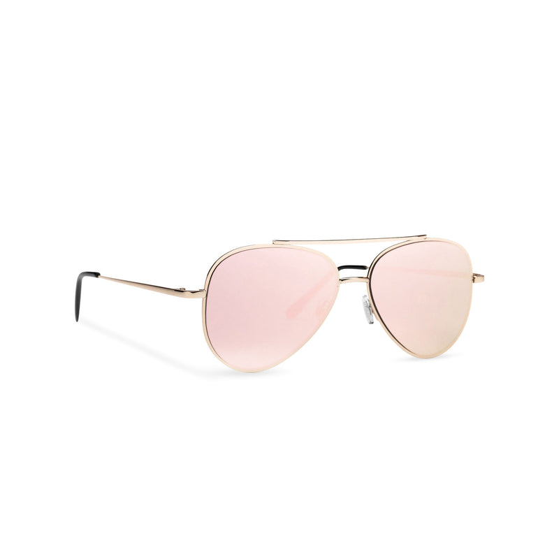 Side SOLFUL Ibiza AMNESIA club model big aviator sunglasses, gold metal frame with pink mirror lens